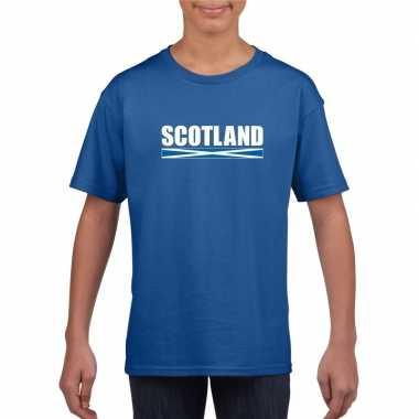 Blauw schotland supporter t shirt kinderen