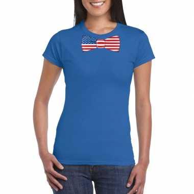 Blauw t shirt amerika vlag strikje dames