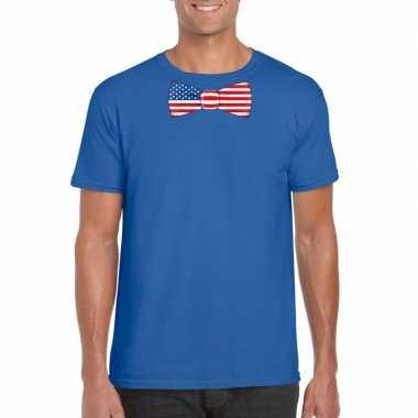 Blauw t shirt amerika vlag strikje heren