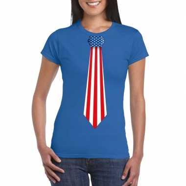 Blauw t shirt amerika vlag stropdas dames