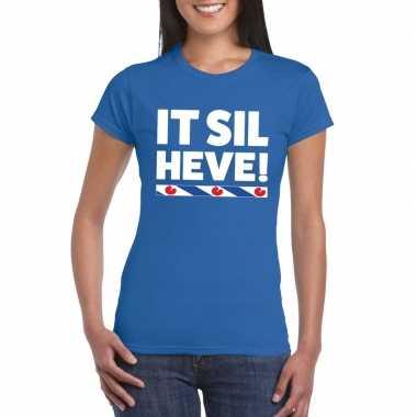 Blauw t-shirt friesland it sil heve dames