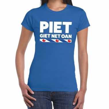 Blauw t shirt friesland piet giet net oan dames