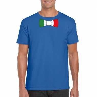Blauw t shirt italie vlag strikje heren