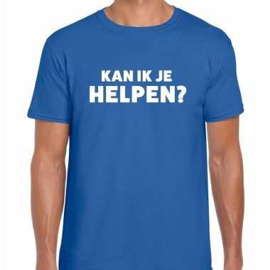 Blauw tekst shirt kan ik je helpen bedrukking heren