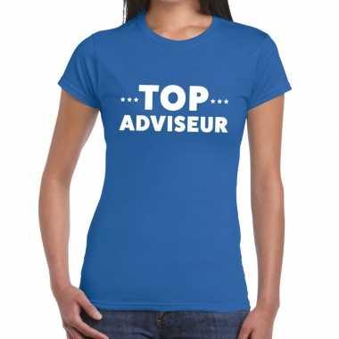 Blauw tekst shirt top adviseur bedrukking dames