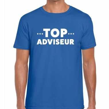 Blauw tekst shirt top adviseur bedrukking heren