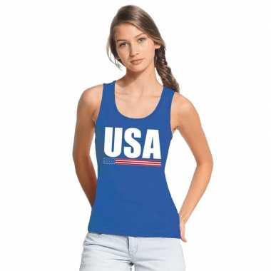 Blauw usa/ amerika supporter singlet shirt/ tanktop dames