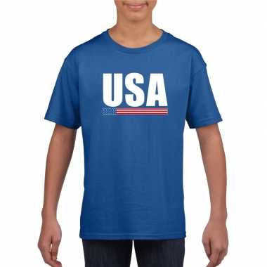Blauw usa / amerika supporter t shirt kinderen