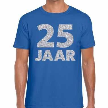 Blauw vijfentwintig jaar verjaardag shirt blauw heren zilveren bedruk