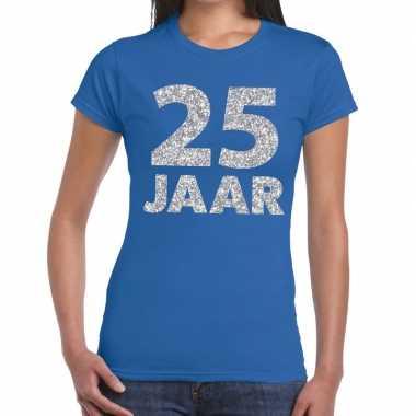 Blauw vijfentwintig jaar verjaardag shirt dames zilveren bedrukking