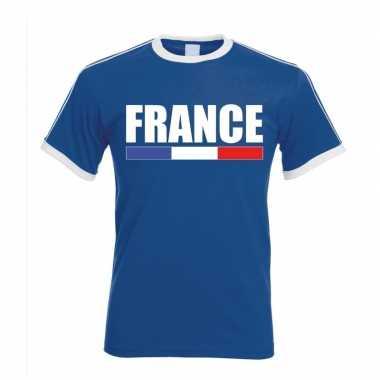 Blauw/ wit frankrijk supporter ringer t shirt heren
