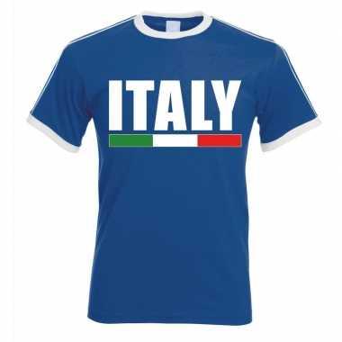 Blauw/ wit italie supporter ringer t shirt heren