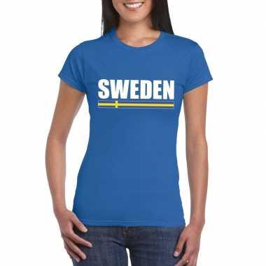 Blauw zweden supporter t shirt dames