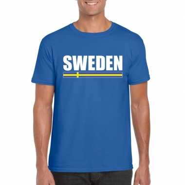 Blauw zweden supporter t shirt heren