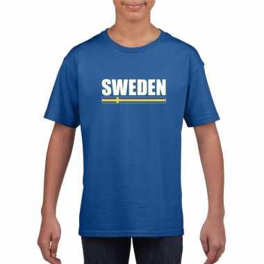 Blauw zweden supporter t shirt kinderen