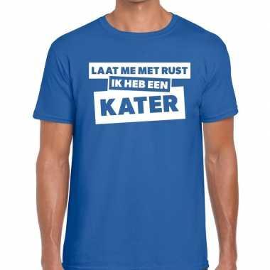 Blauwe tekst shirts heren