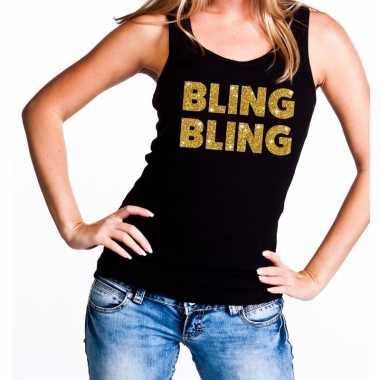 Bling bling glitter tanktop / mouwloos shirt zwart dames