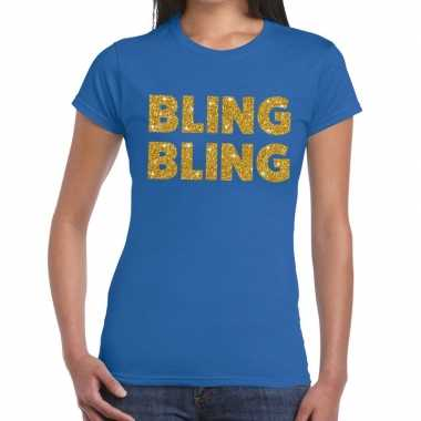 Bling bling glitter tekst t shirt blauw dames