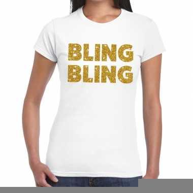 Bling bling glitter tekst t shirt wit dames