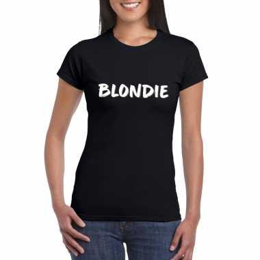 Blondie tekst t shirt zwart dames