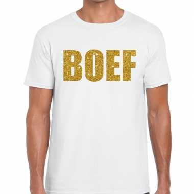 Boef glitter goud tekst t shirt wit heren