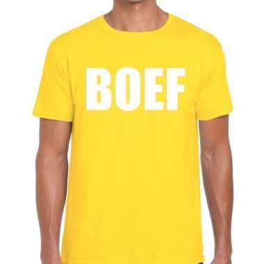 Boef tekst t shirt geel heren