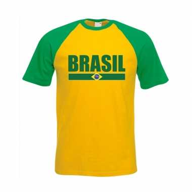 Brazilie supporter baseball t shirt geel/ groen heren