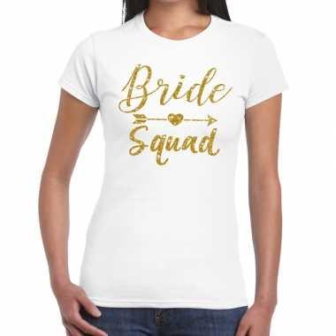 Bride squad cupido goud glitter t shirt wit dames