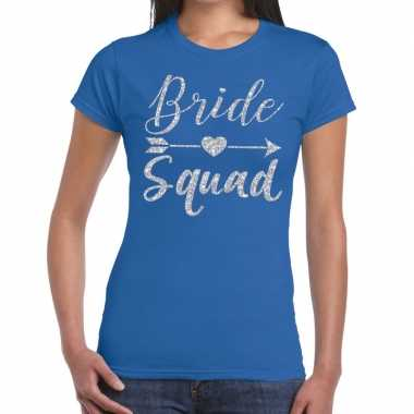 Bride squad cupido zilver glitter t shirt blauw dames