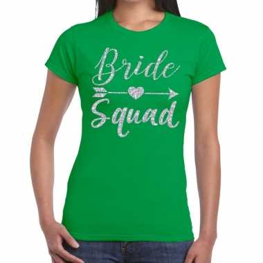 Bride squad cupido zilver glitter t shirt groen dames