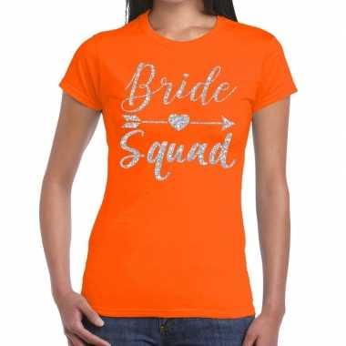 Bride squad cupido zilver glitter t shirt oranje dames