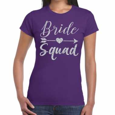 Bride squad cupido zilver glitter t shirt paars dames