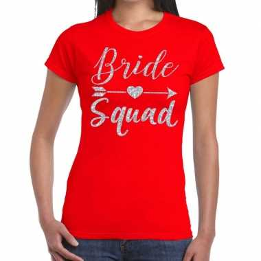 Bride squad cupido zilver glitter t shirt rood dames