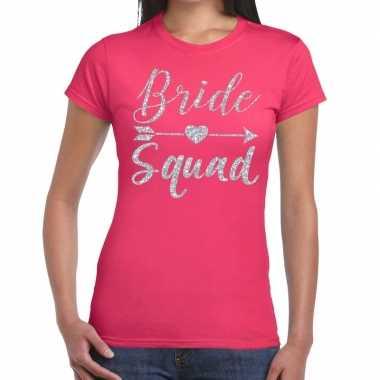 Bride squad cupido zilver glitter t shirt roze dames