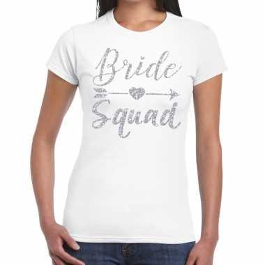 Bride squad cupido zilver glitter t shirt wit dames