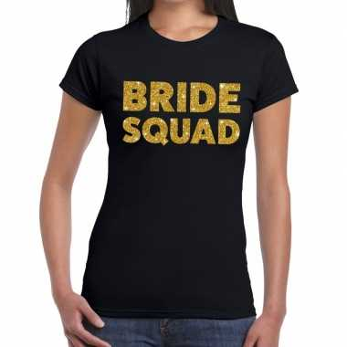 Bride squad glitter tekst t shirt zwart dames