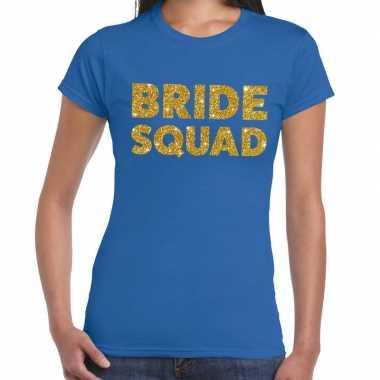 Bride squad gouden glitter tekst t shirt blauw dames