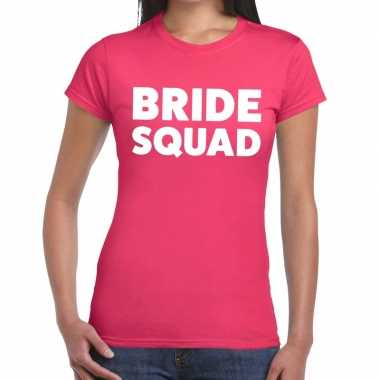 Bride squad tekst t shirt roze dames