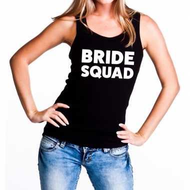 Bride squad tekst tanktop / mouwloos shirt zwart dames