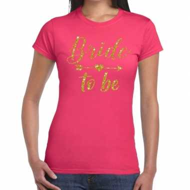 Bride to be cupido goud glitter t shirt roze dames