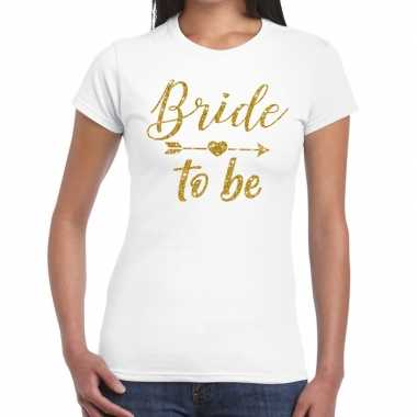 Bride to be cupido goud glitter t shirt wit dames