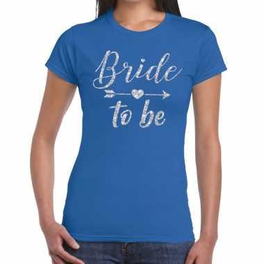 Bride to be cupido zilver glitter t shirt blauw dames