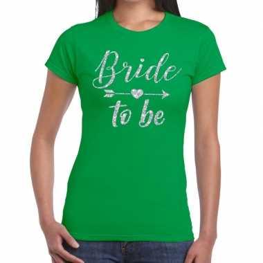 Bride to be cupido zilver glitter t shirt groen dames