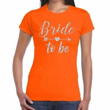 Bride to be cupido zilver glitter t shirt oranje dames