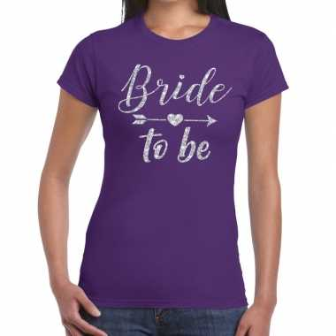 Bride to be cupido zilver glitter t shirt paars dames