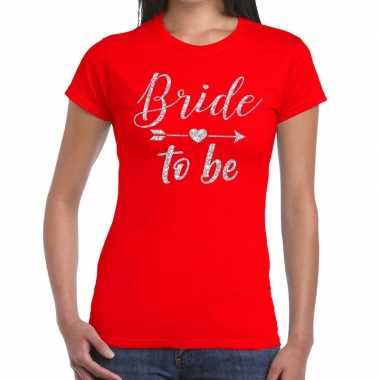 Bride to be cupido zilver glitter t shirt rood dames