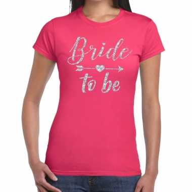Bride to be cupido zilver glitter t shirt roze dames