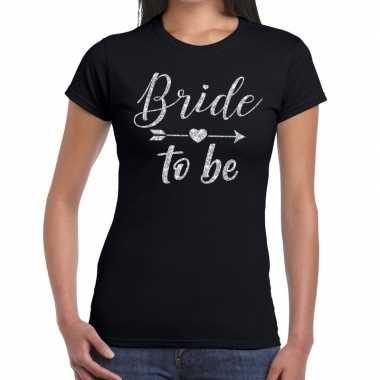 Bride to be cupido zilver glitter t shirt zwart dames