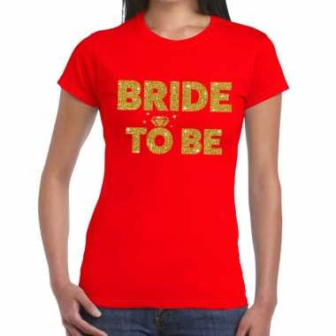 Bride to be glitter tekst t shirt rood dames
