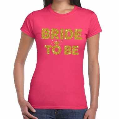 Bride to be glitter tekst t shirt roze dames